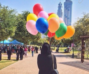 hijab and balloons image