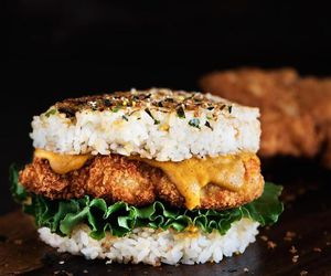 burger, Chicken, and rice image