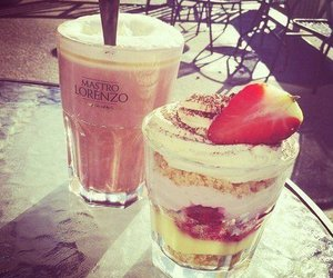 food, strawberry, and coffee image