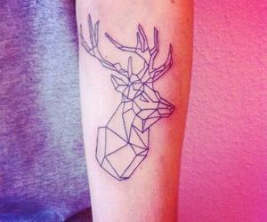 tattoo, deer, and geometric image