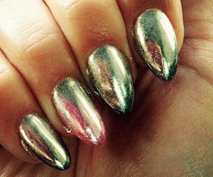 long nails, ombre, and metallic image