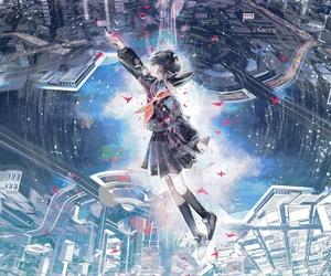 anime girl, city, and art image