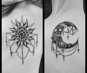 tattoo, mond, and Sonne image
