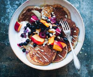 fruit, pancakes, and breakfast image