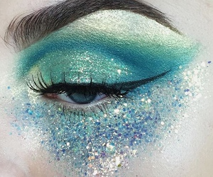 blue, glitter, and mermaid image