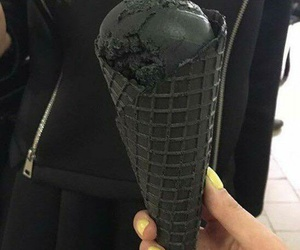 black, ice cream, and food image