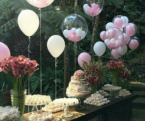 balloons, cake, and flowers image