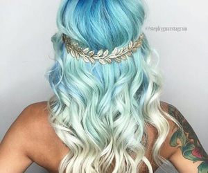 blue, hair, and mermaid image