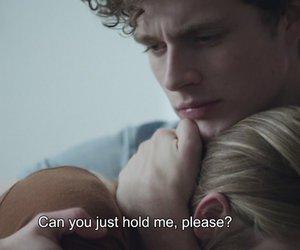 hold me, couple, and sad image