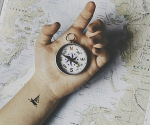travel, tattoo, and compass image