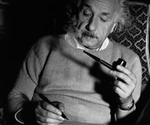 Albert Einstein, pipe, and black and white image