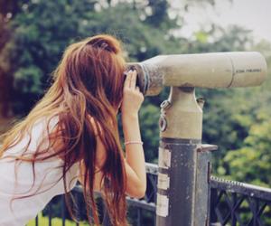 girl, hair, and telescope image