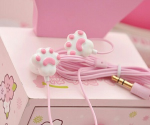 pink, kawaii, and earphones image