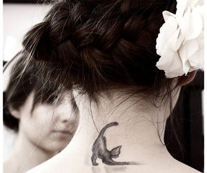 ink, tattoo, and cat image
