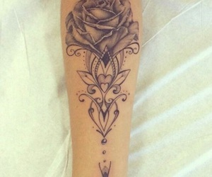 flower, inked, and rose image