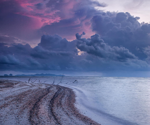 beach, ocean, and storm image