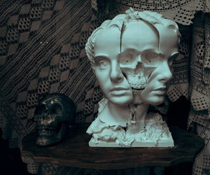 skull, art, and sculpture image