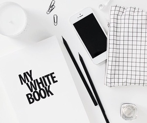 white, black, and book image