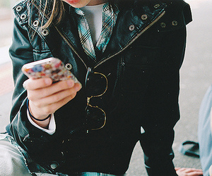cellphone, fashion, and glasses image