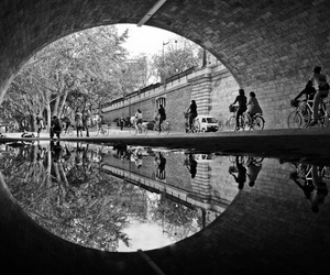 bikes, people, and tunnel image