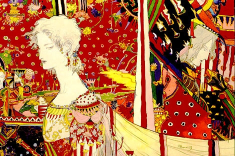 illustration, red, and Yoshitaka Amano image