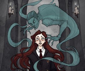ginny weasley, harry potter, and tom riddle image