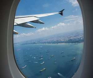 travel, plane, and sea image