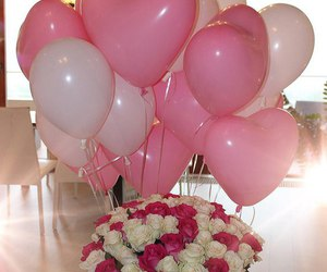 flowers, balloons, and rose image