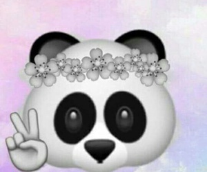 panda, flowers, and peace image
