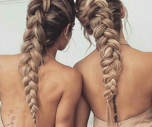 best friends, hairstyle, and braids image