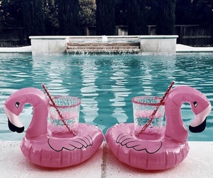 summer, drink, and flamingo image