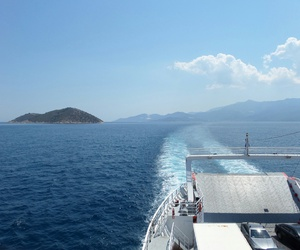 ferry, goodbye, and thassos image