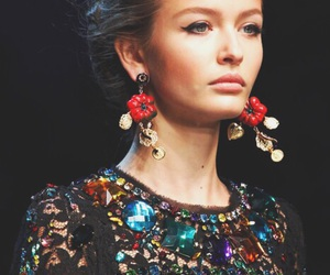 dress, earings, and fashion image