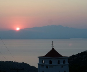 church, Greece, and mountains image