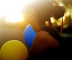 girl, balloons, and light image
