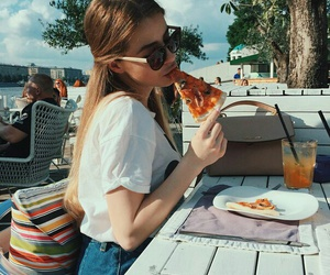 cool, girl, and pizza image
