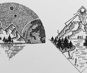 black, drawings, and mountain image