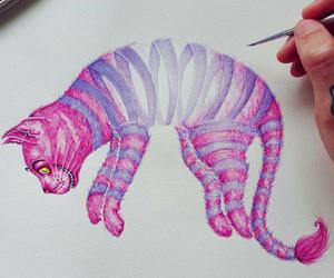 cat, art, and alice in wonderland image