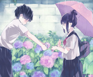 anime, rain, and love image