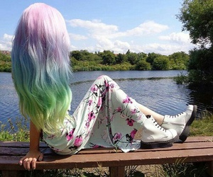 blue, pink, and rainbow hair image