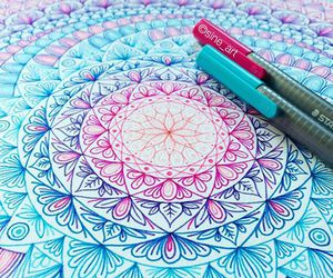 art, mandala, and blue image