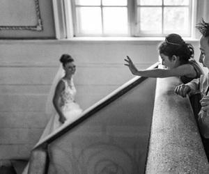 black and white, bride, and children image