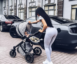 baby, mom, and stroller image
