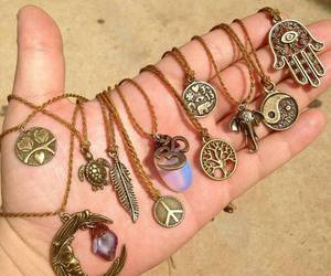 necklace, peace, and moon image