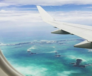 airplane, ocean, and summer image