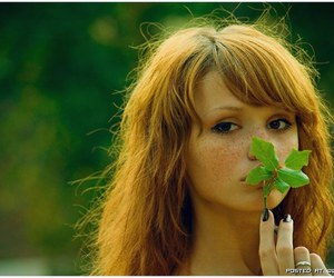 girl, green, and red image
