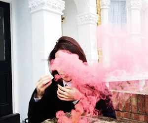 pink, girl, and smoke image