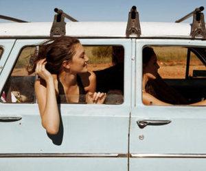 blue, brunette, and car image