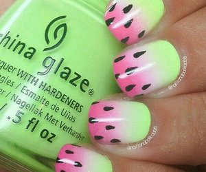 nails, green, and pink image