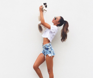 girl, fashion, and cat image